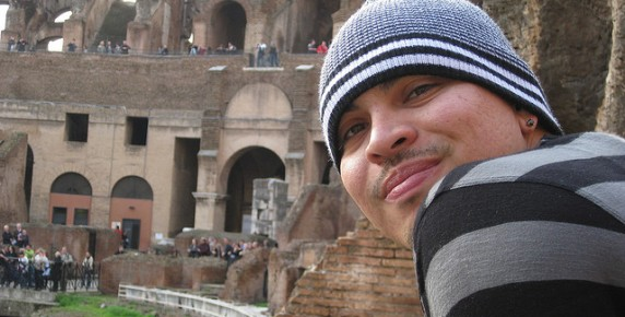 My son Albert at the coliseum in Rome.