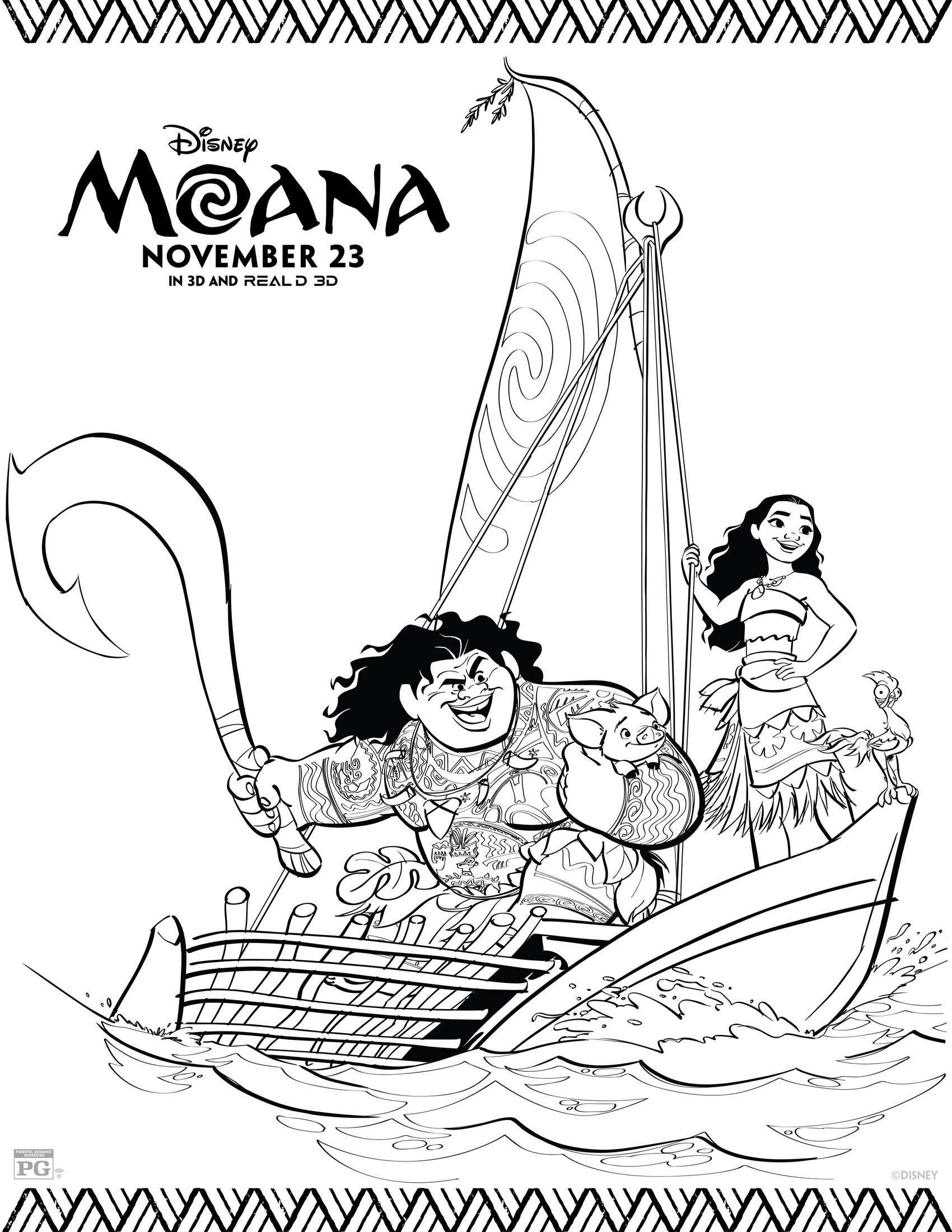 Moana Coloring Sheets From Disney Dona Lupes Kitchen