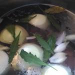 Pork neck bones, epazote, onion, garlic